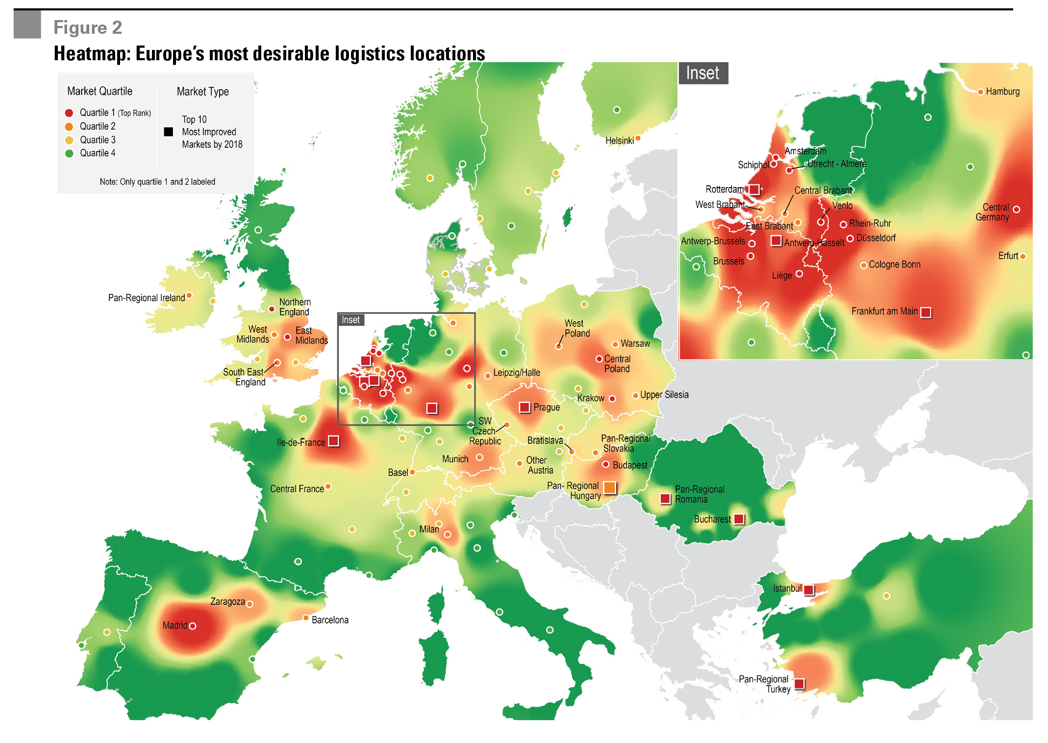 Figure 2 Heatmap: Europe's most desirable logistics locations