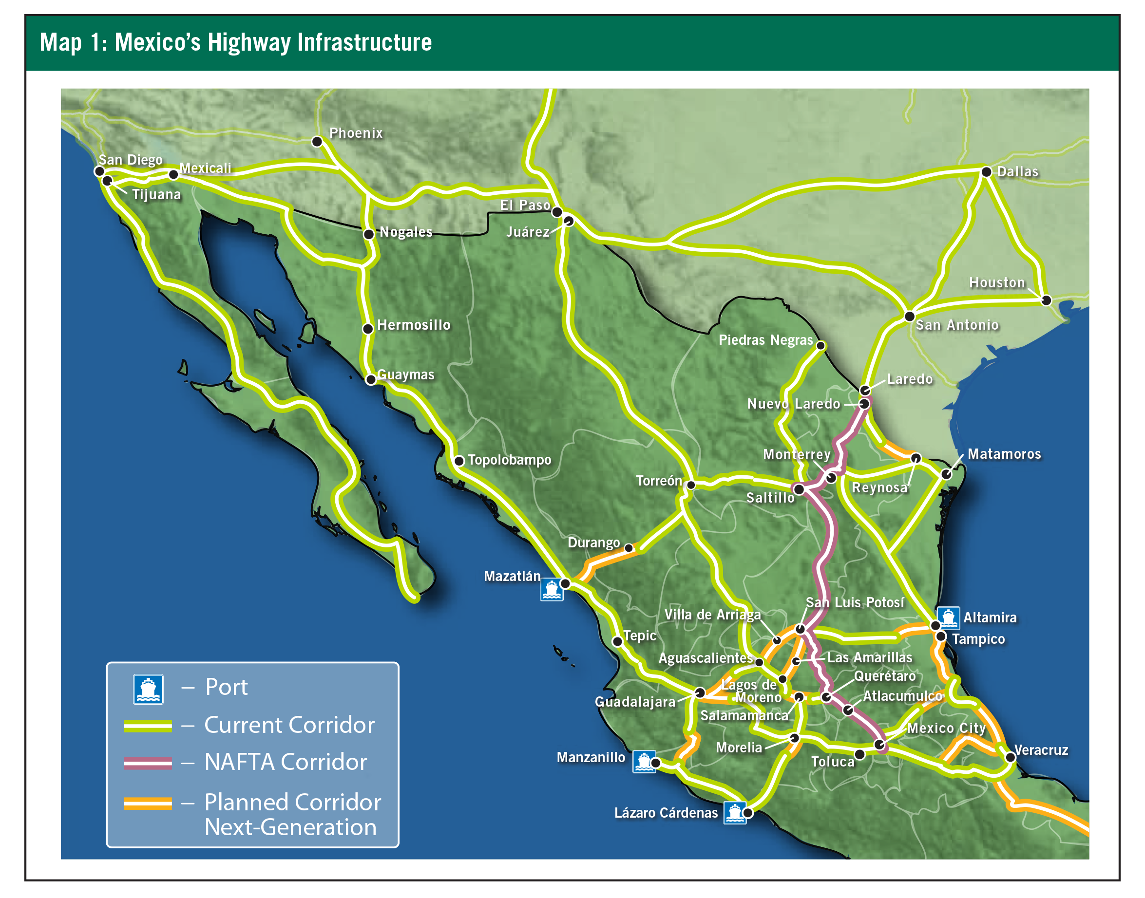 Map 1: Mexico's Highway Infrastructure