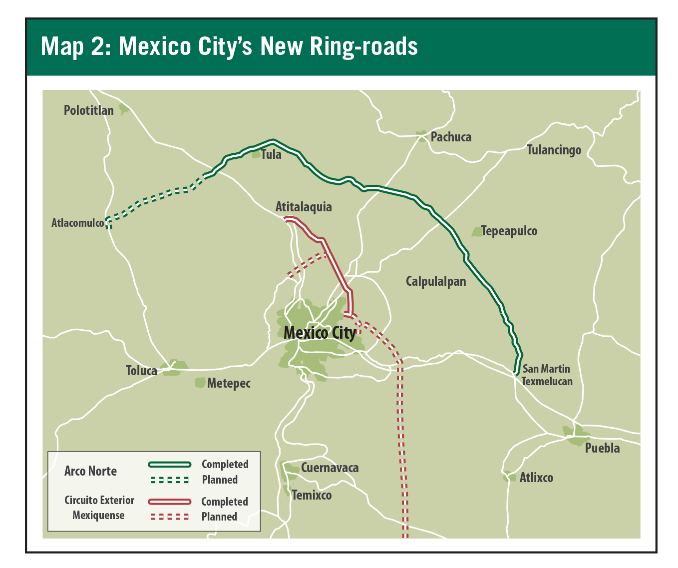 Map 2: Mexico City's New Ring-roads