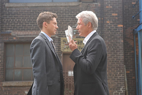 Topher Grace and Richard Gere in a scene from The Double, set at Prologis Vernon Industrial Park in Southern California.