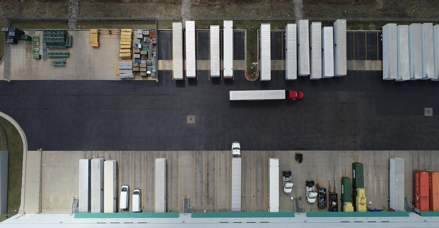 An image of a Prologis loading dock taken by a drone camera.