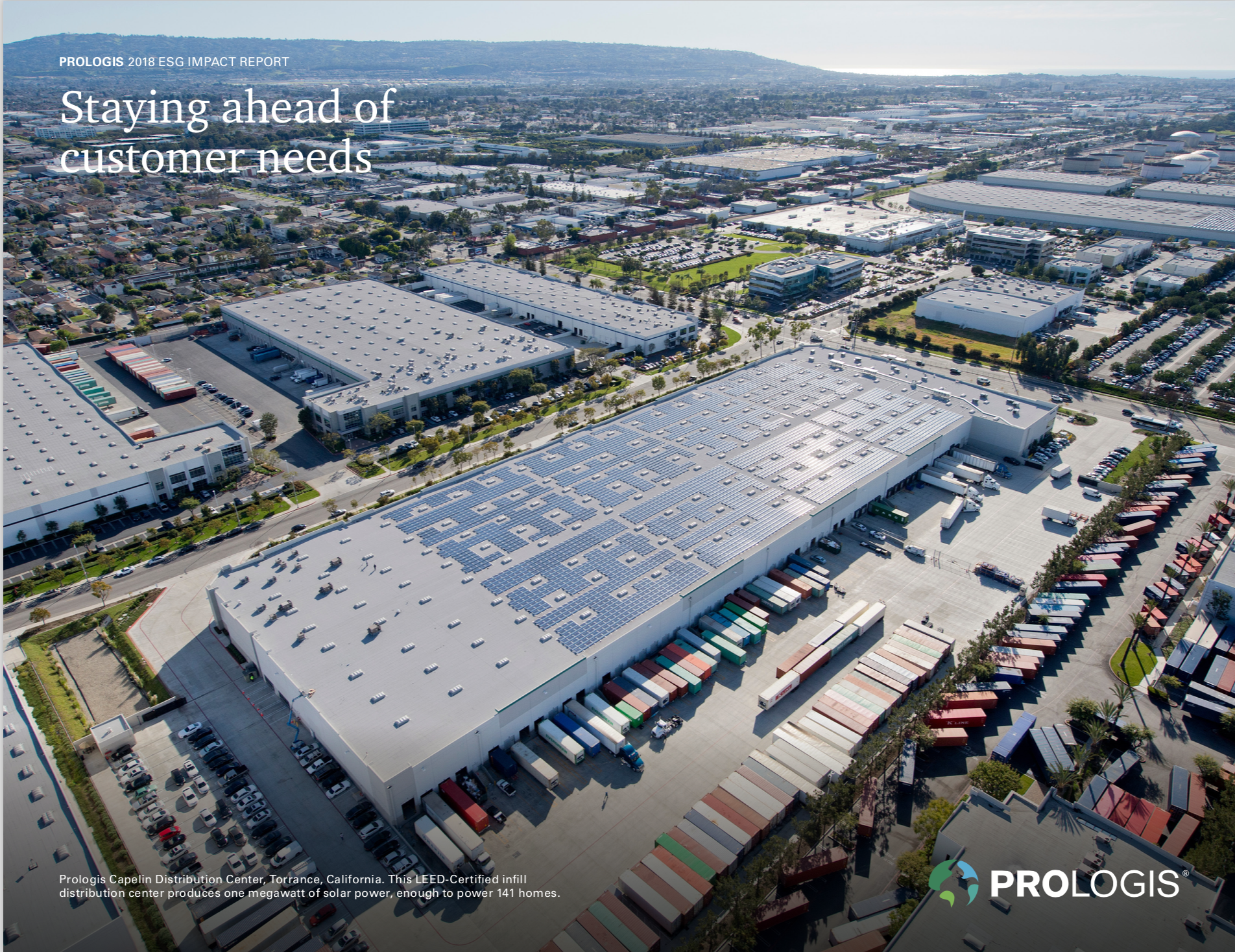 Image of the 2018 Prologis ESG Sustainability Report cover