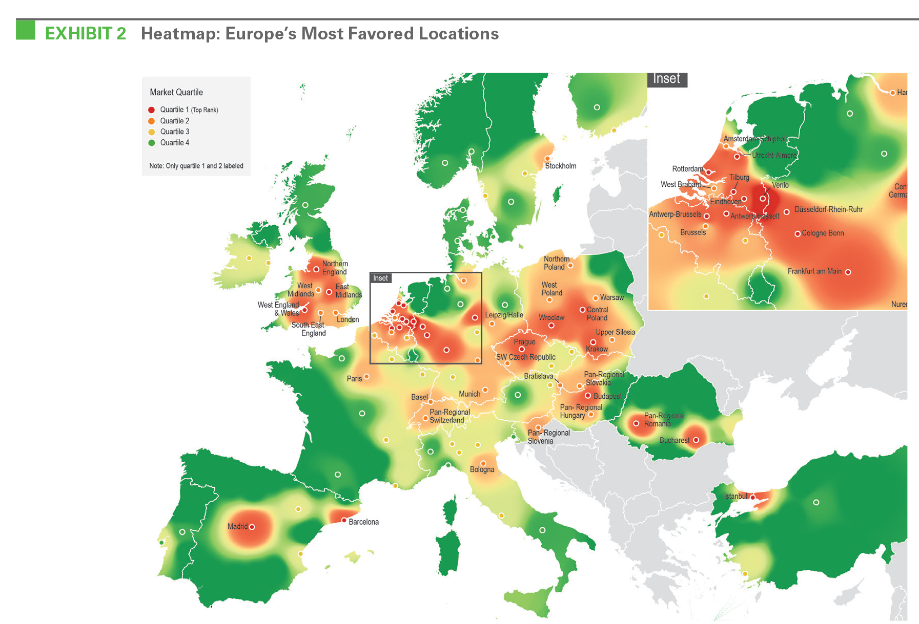 EXHIBIT 2 Heatmap: Europe's Most Favored Locations